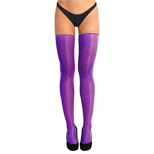 Alvivi Women's Sheer Shiny Silk High Waist Pantyhose Ultra Shimmery Tights Long Stockings Purple One (Shiny Thigh Slimmer)