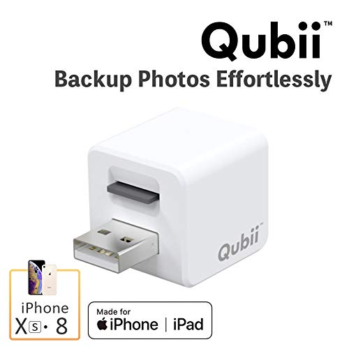 (Flash Drive for iPhone, Auto Backup Photos & Videos, Photo Stick for iPhone, Qubii Photo Storage Device for iPhone & iPad【microSD Card Not Inculded】- White)