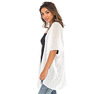 Back From Bali Womens Long Shrug Cotton Cardigan Sweater, Open Front Short Sleeve for Dresses, Pants White