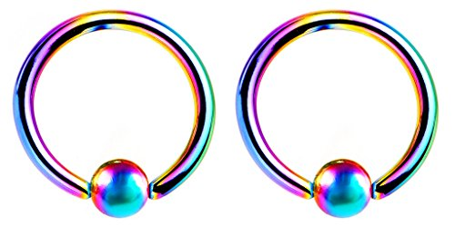 Pair of Rainbow CBR/BCR Captive bead Ring lip, belly, nipple, cartilage, tragus, septum, earring hoop - 18g , 1/2