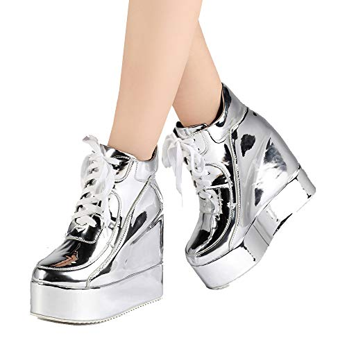 getmorebeauty Womens Hidden High Heel Platform Sneakers Wedge Lace Up Chelsea Punk Patent Ankle Boots (7.5 B(M) US, Silver)