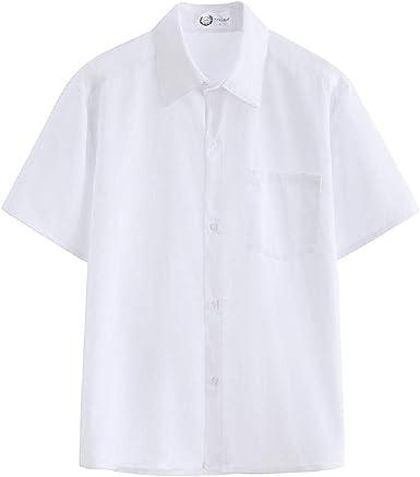NOBRAND Camisa blanca para hombre cuello suelto puntiagudo ...