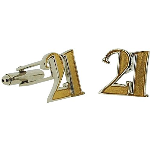 Wendy Jones Blackett Two Tone Diecast ''Happy 21st Birthday'' Cufflinks in - Tone Cufflinks Diamond Two