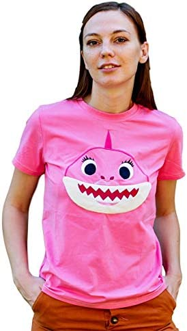 ComfyCamper Embroidered Womens Mommy Shark Shirt Family Shark Costume M Pink