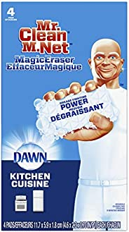 Mr. Clean Magic Eraser Kitchen with Dawn, Cleaning Pads with Durafoam, 4 Count