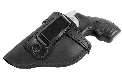 The Defender Leather IWB Holster - Fits Most J Frame Revolvers Incl. Ruger LCR, S&W 442/642, Taurus, Charter & Most .38 Special Revolvers - Made in USA - Black - Left Handed