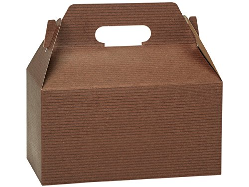 Pack of 125, Chocolate Pinstripe Gable Boxes 9.5 x 5 x 5'' for Unique Presentations & Food Packaging by Generic