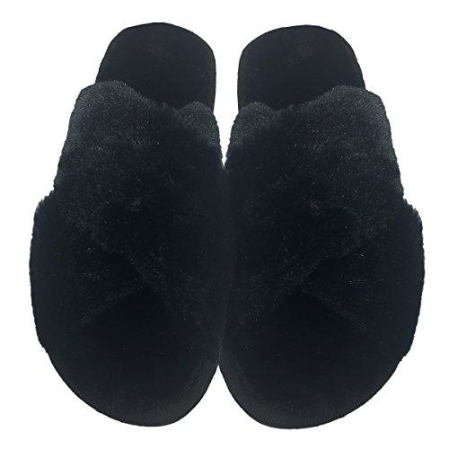 Shearling Undie Faux Slipper Black Criss Couture Cross Slide PPq6OT