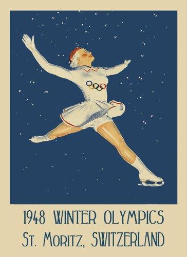 Woman Ice Skating 1948 Winter Olympics St. Moritz Switzerland Sport Games Vintage Poster Repro 12