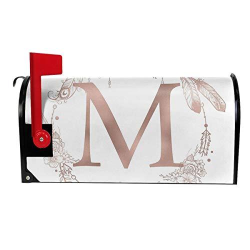 Milyla-ltd Letter M Rose Gold Pink Initial Monogram Magnetic Mailbox Cover Letter Post Box Cover Wrap Standard Size 21