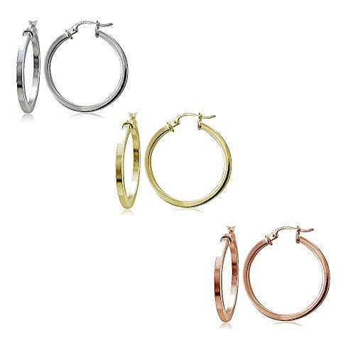 - Hoops & Loops Sterling Silver Tri Color 2x25mm Polished Square Hoop Earrings Set of 3