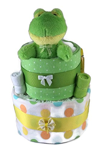 Sunshine Gift Baskets - Big Froggy - Pampers Swaddlers Diaper Cake Gift Set