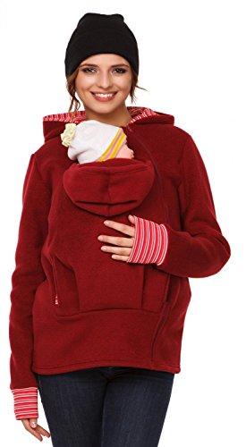 - Happy Mama. Womens Maternity Fleece Hoodie Duo Top Carrier Baby Holder. 032p (Crimson, US 8/10, L)