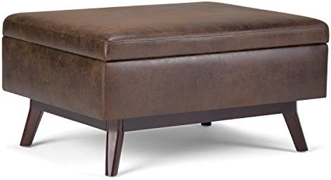 Amazon Com Simplihome Owen 34 Inch Wide Rectangle Coffee Table Lift Top Storage Ottoman Cocktail Footrest Stool In Upholstered Distressed Chestnut Brown Faux Air Leather Mid Century Modern Living Room Furniture Decor