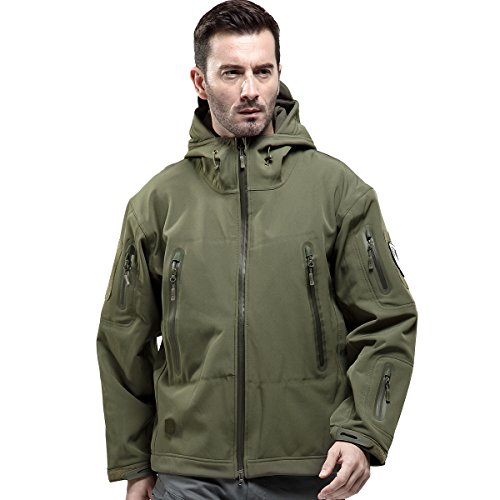 FREE SOLDIER Men's Tactical Jacket Waterproof Army Military Hooded Jacket Softshell Autumn Winter Jacket (Army green L)