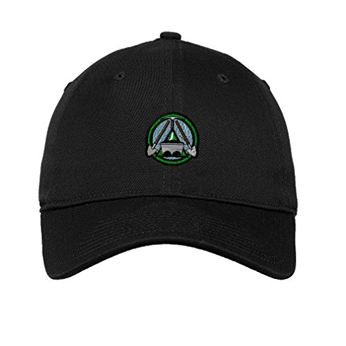 Miner Mining Logo Embroidery Unisex Adult Flat Solid Buckle Cotton 6 Panel Low Profile Hat Cap - Black, One Size