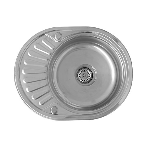 ENKI Compact Stainless Steel 1.0 Single Bowl Reversible Round Inset Topmount Kitchen Sink with Drainboard by (Bowl Reversible Kitchen Sink)
