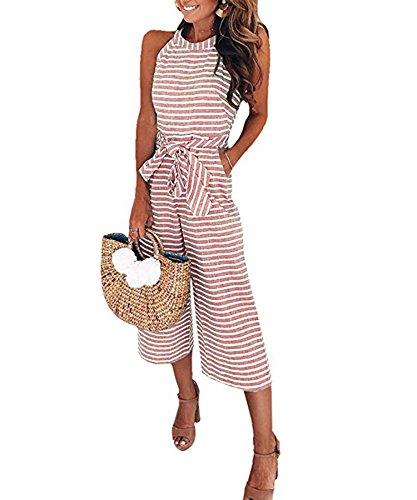 Ru Sweet Women Striped Waist Belted Wide Leg Jumpsuit  Small  Pink