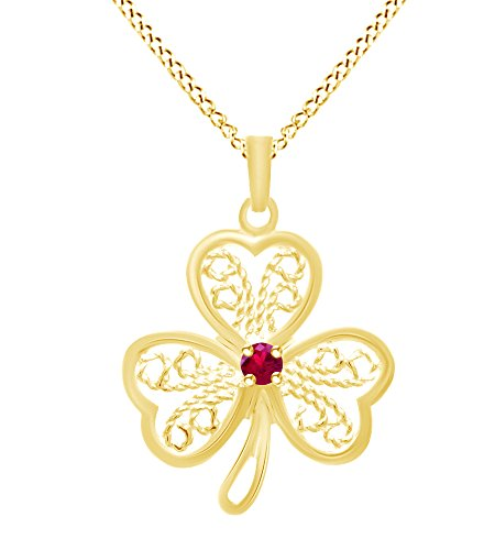 Wishrocks Simulated Ruby Lucky Clover Pendant Necklace 14K Yellow Gold Over Sterling Silver
