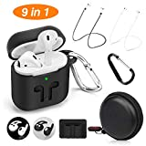 cuauco AirPods Case Protective Silicone Cover with 2 Airpods Strap, 2 Airpods Ear