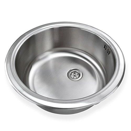 Stabilo-Sanitaer runde und kompakte Einbauspüle mit integrierten Überlauf aus hochwertigem Edelstahl, Küchen Rundbecken in schönen und zeitlos modernen Design