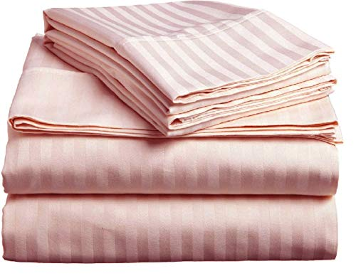 (Meraki 18 Inch Extra Deep Pocket Bed Sheet Set - 1800 Series Brushed Microfiber - Wrinkle, Fade, Stain Resistant and Hypoallergenic (Queen Size Stripe Pink))