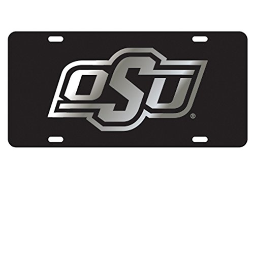 OSU OKLAHOMA STATE COWBOYS Black Mirrored Auto License Plate Tag