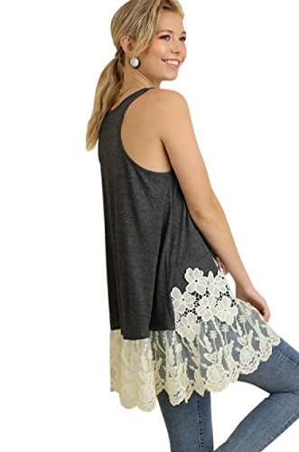 Umgee USA Embroidered Lace Sleeveless Long Tunic Tank Top Boho Hippie Gypsy (S-Plus Size) (Large, Charcoal G0669)
