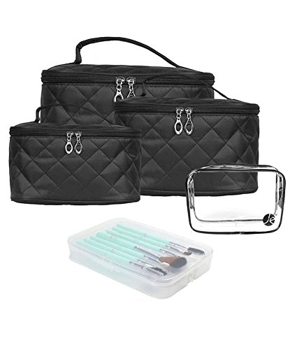 4 PCS Size Set Quilted Makeup Travel Storage Cosmetic Organizer Bag + (7 PCS) Cosmetic Beauty (ICS CREAM) Brush Set Case