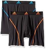 adidas Men's Sport Performance Climalite Boxer Briefs Underwear (2-Pack), black/bright blue black/orange, Small