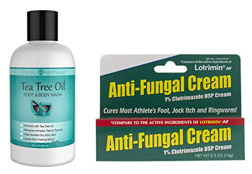 Purely Northwest Anti-Fungal Kit with Tea Tree Oil Foot & Body Wash 9 oz with 1% Clotrimazole USP Cream 0.5 oz Cures Most Athletes Foot, Jock Itch, Nail Fungus, Ringworm, Acne & Body Odor