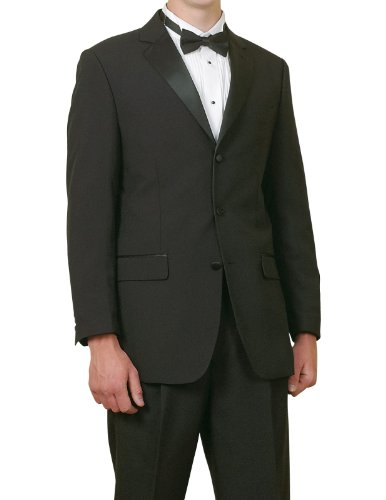 New Mens 5 Pc Complete Black Tuxedo Suit Jacket Pants Shirt Bow ()