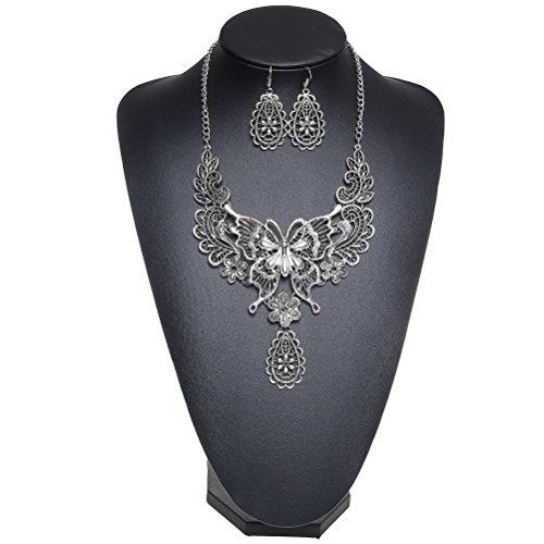 SUMAJU Statement Necklace Jewelry Set, Silver Tone Hollow Butterfly Dangle Earrings Bib Collar Necklace Mothers Day Jewelry Gift (Necklace Large Silver)
