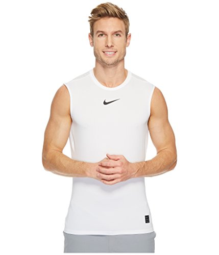 NIKE Pro Men's Fitted Sleeveless Shirt (White/Black, X-Large)