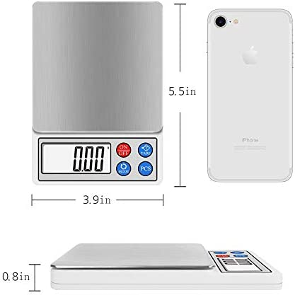 Toprime Digital Kitchen Pocket Scale, Elegant Slim Design for Easy Storage, Electronic Cooking Scale for Home/Kitchen, 600g/0.01g, Tare and PCS Function(Gray)