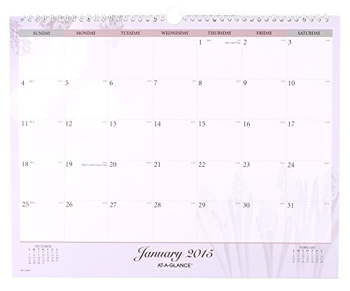 """AT-A-GLANCE Monthly Wall Calendar 2015, Nature, Wirebound, 14 7/8"""" X 11 7/8"""" Inch Page Size (998-1)"""