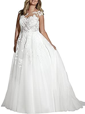 Zhongde Plus Size Cap Sleeve Wedding Dress Tulle Bridal Gown With Applique