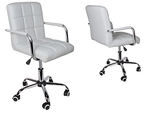 white-pu-leather-hydraulic-swivel-modern-chair-office-executive-computer-desk-new