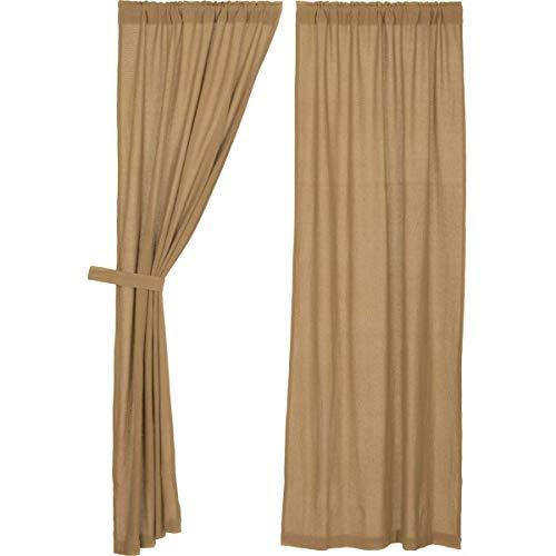 VHC Brands Classic Country Farmhouse Window Burlap Tan Curtain Panel Pair, Natural