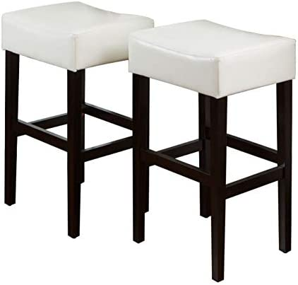 Christopher Knight Home Lopez Leather Backless Bar Stools, 2-Pcs Set, Ivory