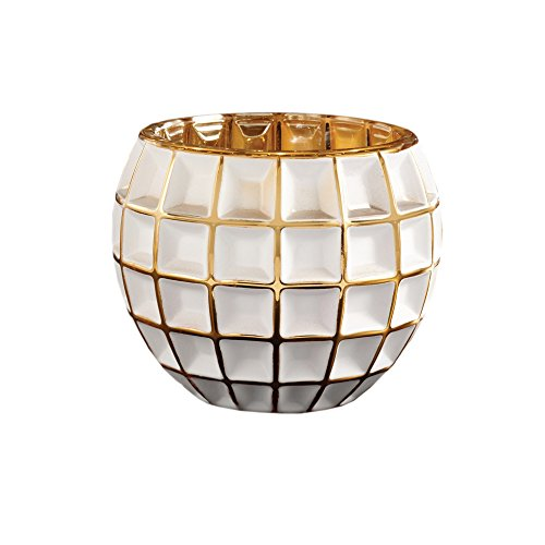 - Fifth Avenue Crystal Facet White & Gold Votive