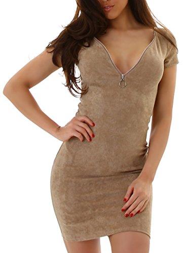 VAusschnitt in Voyelles und Damen Kleid Optik Elegant Velours mit dCxerBoW