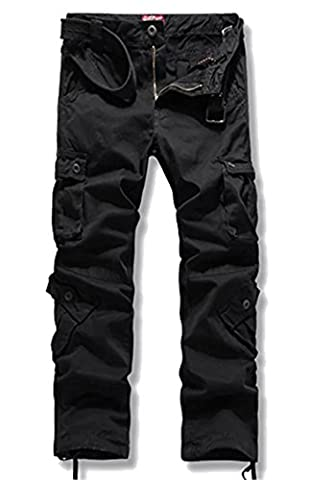 Cameinic Men's Loose-Fit Straight Cargo Pant Black
