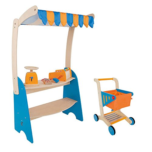 t Stand Play Set + Hape Supermarket Grocery Shopping Cart ()