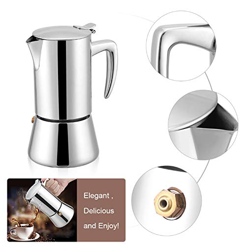 Espresso Maker, Acogedor Stovetop Moka Express Espresso Maker - 3 Cup Moka Coffee Pot - Best Polished Stainless Steel Coffee Percolator with Permanent Filter - Perfect for Home and Office Use