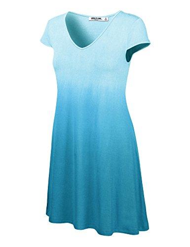 WDR1089 Womens Ombre V Neck Cap Sleeve T Shirt Dress L AQUA