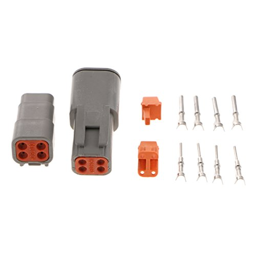 IPOTCH 1 Set Car 4-Pins Sealed Electrical Wire Connector Plug with Terminals: