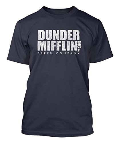 Dunder Mifflin Inc. - The Office - Paper Company Men's T-shirt Tee (XL, NAVY BLUE)