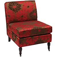 Avenue Six MAD51-G14 AVE SIX Madrid Accent Chair with Espresso Solid Wood Caster Legs, Groovy Fabric, Red