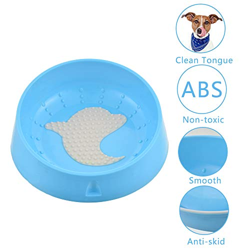 Urijk Slanted Cat Food Dish No Spill, Tilt Bowl with Anti Skid Rubber Base for Kitty Kitten, Anti Spill Water Bowl Dish Mess Proof Wide Mouth, Pet Cat Feeding Watering Supplies (100 oz, Blue Dolphin)